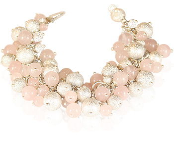 Pink Champagne bracelet in sterling silver and rose quartz by Deberitz