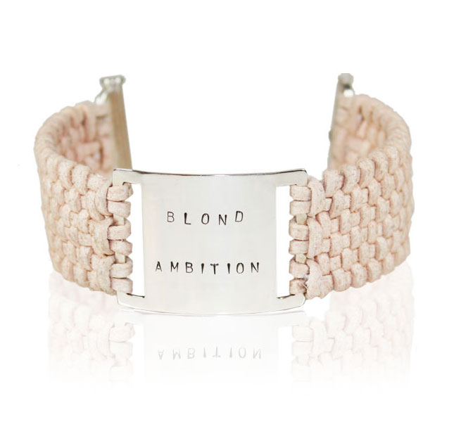 Blond Ambition bracelet in Sterling silver and alcantara by Deberitz