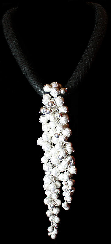 Champagne and Caviar by Deberitz - original design Sterling silver necklace.