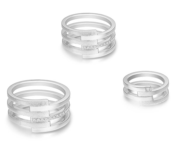 Linear Thinking white gold rings with diamonds.