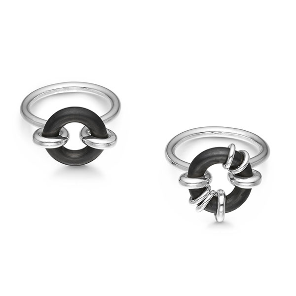 Rubber Soul rings in sterling silver and rubber by Liisa Gude Deberitz.